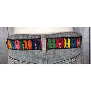 Boho Leather & Embroidered Belt Guatemala